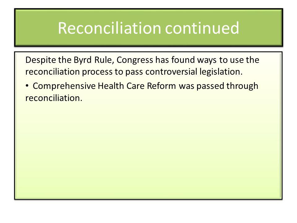 Reconciliation continued
