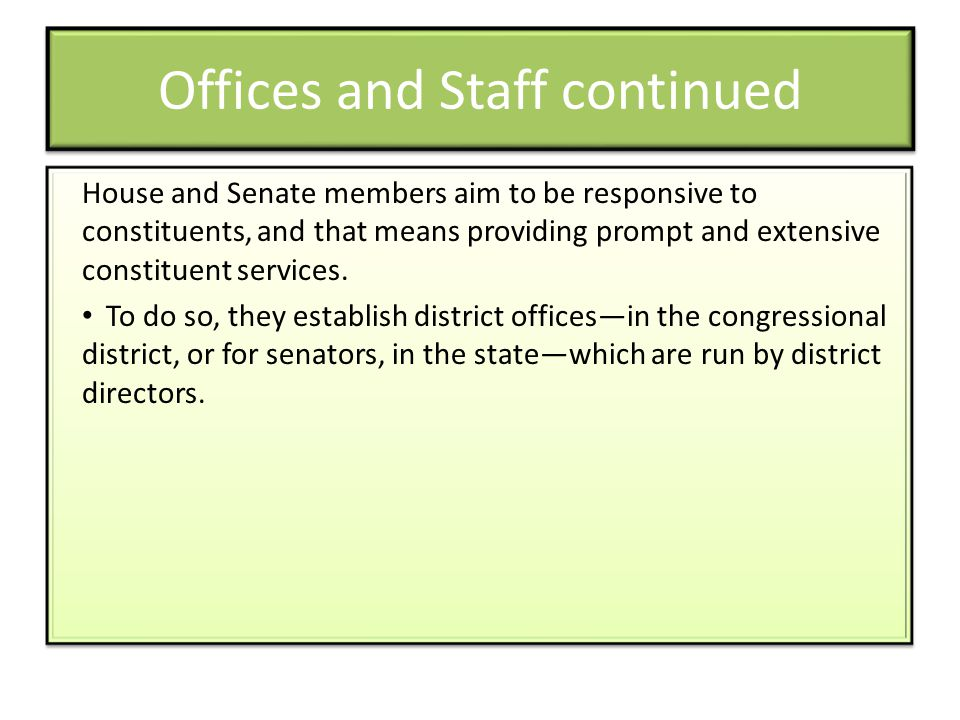 Offices and Staff continued