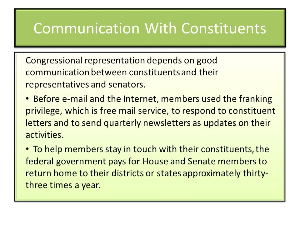 Communication With Constituents