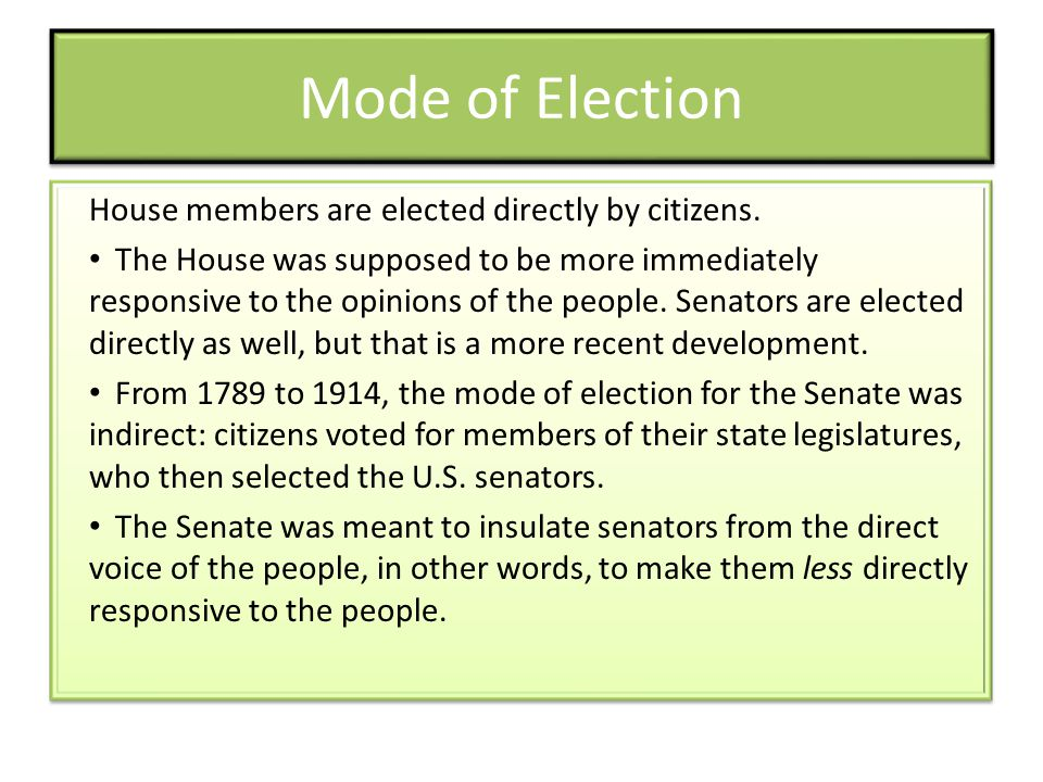 Mode of Election House members are elected directly by citizens.