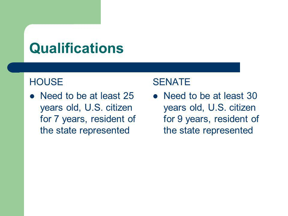 Qualifications HOUSE. Need to be at least 25 years old, U.S. citizen for 7 years, resident of the state represented.