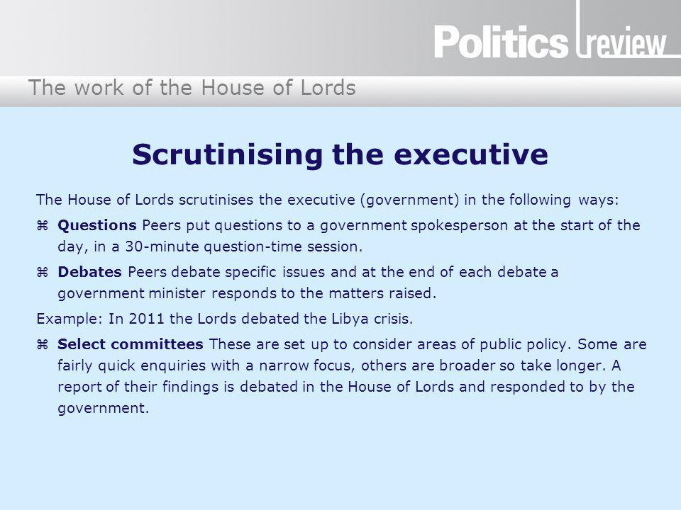 Scrutinising the executive