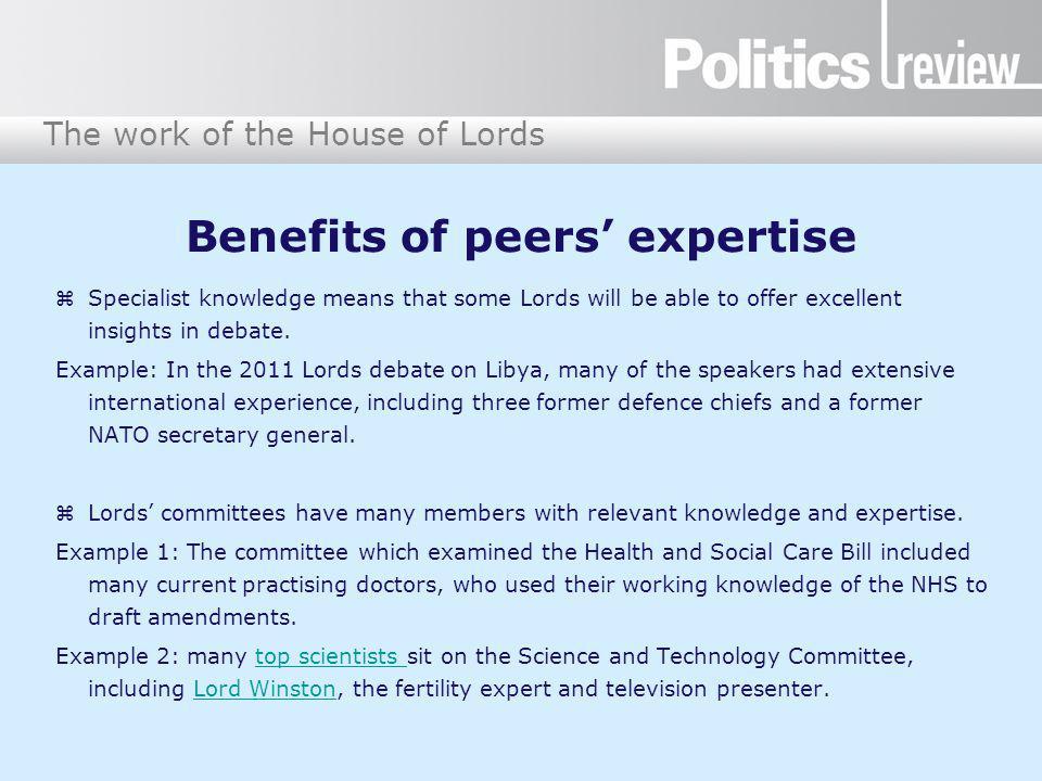 Benefits of peers' expertise