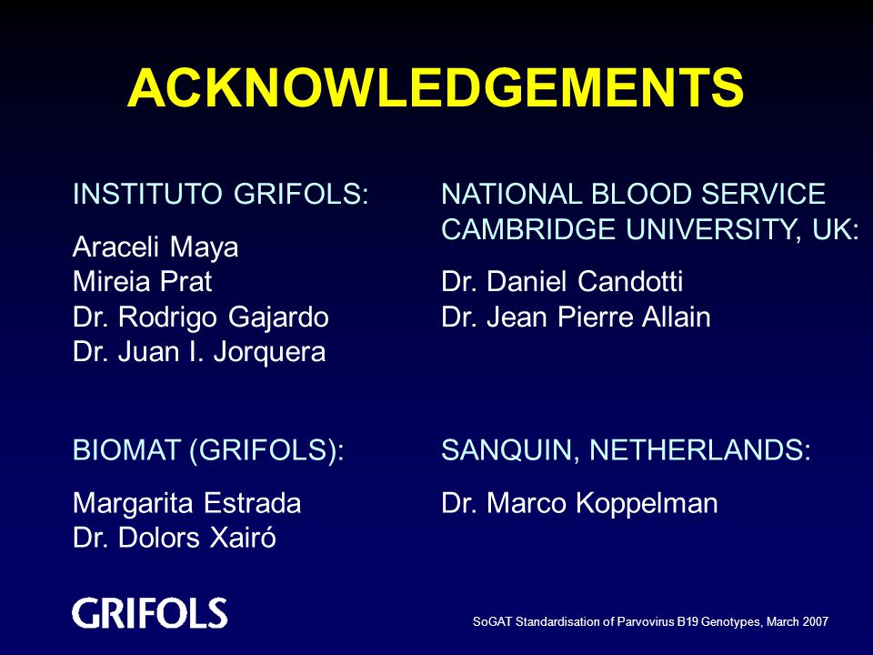 ACKNOWLEDGEMENTS INSTITUTO GRIFOLS: Araceli Maya Mireia Prat