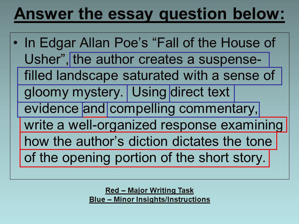 """fall of house of usher essay The fall of the house of usher"""" is, quite literally, a story about the fall of the house of usher the """"house of usher"""" can be interpreted to mean either the literal, the house the usher's lives in, or it can refer to the bloodline, the house of the usher's (insert joke about personally belonging to the house of godric gryffindor here."""