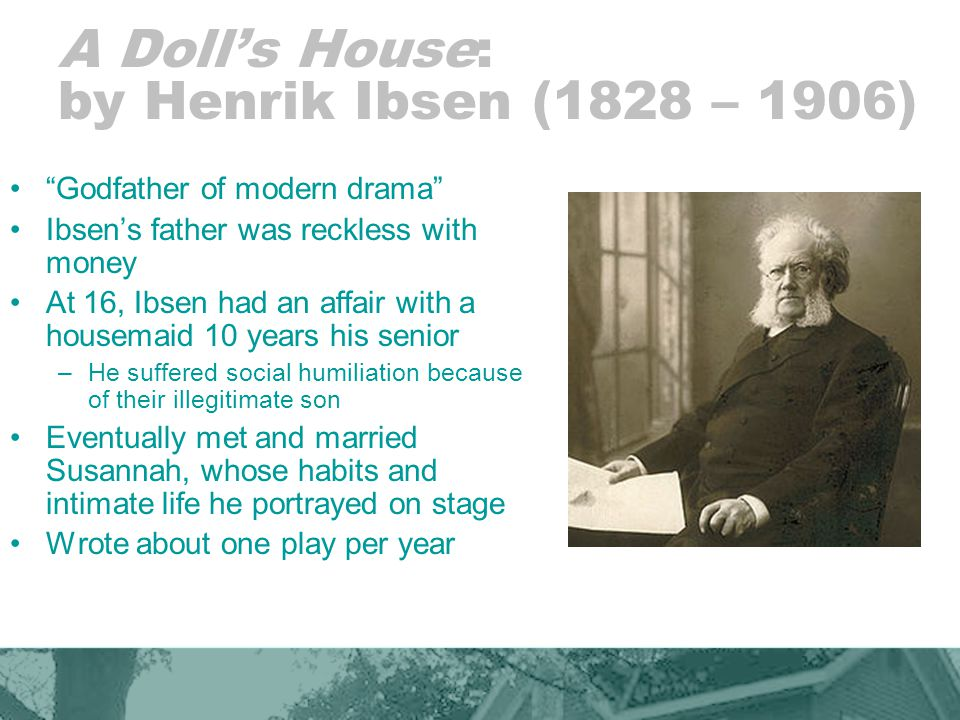 A Doll's House: by Henrik Ibsen (1828 – 1906)
