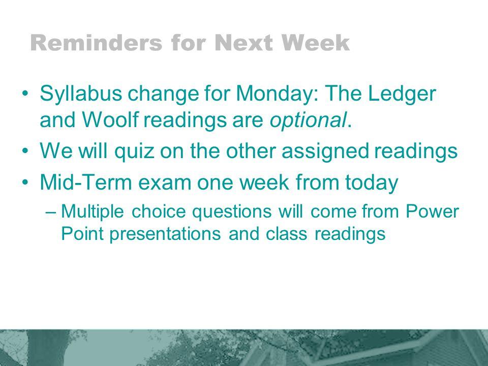 Reminders for Next Week
