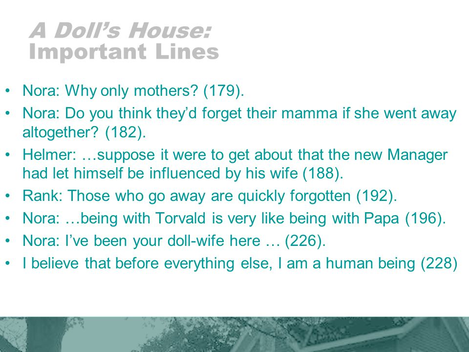 A Doll's House: Important Lines