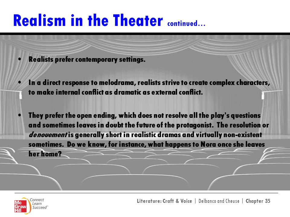 Realism in the Theater continued…