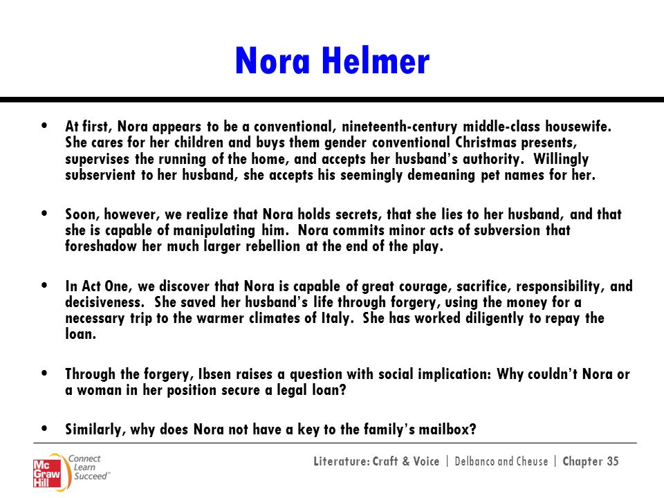 an analysis of the character of nora in a doll house Everything you ever wanted to know about nora helmer in a doll's house, written by masters of this stuff just for you.