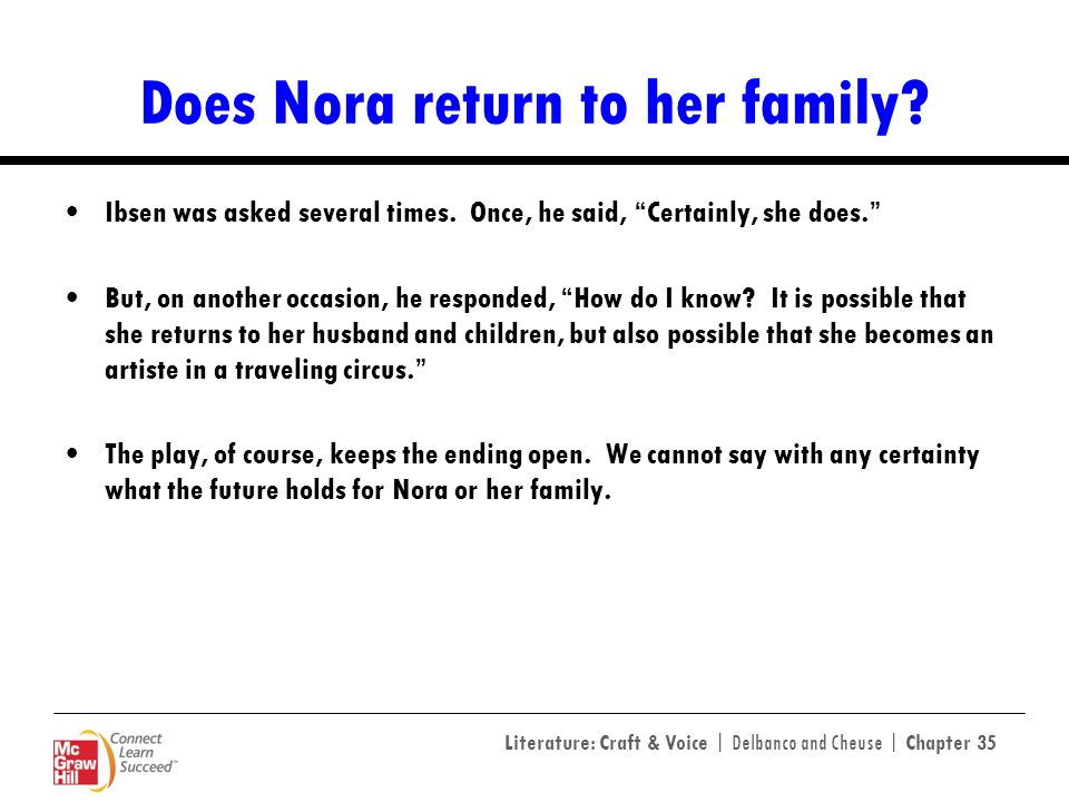 Does Nora return to her family