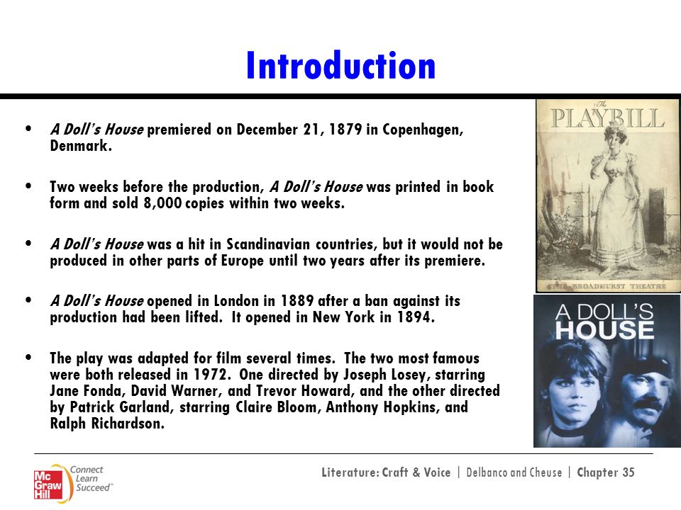 Introduction A Doll's House premiered on December 21, 1879 in Copenhagen, Denmark.