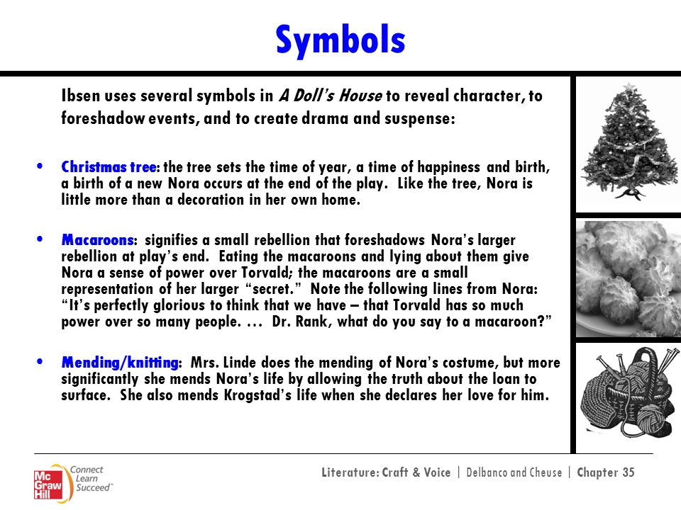 Symbols Ibsen uses several symbols in A Doll's House to reveal character, to foreshadow events, and to create drama and suspense: