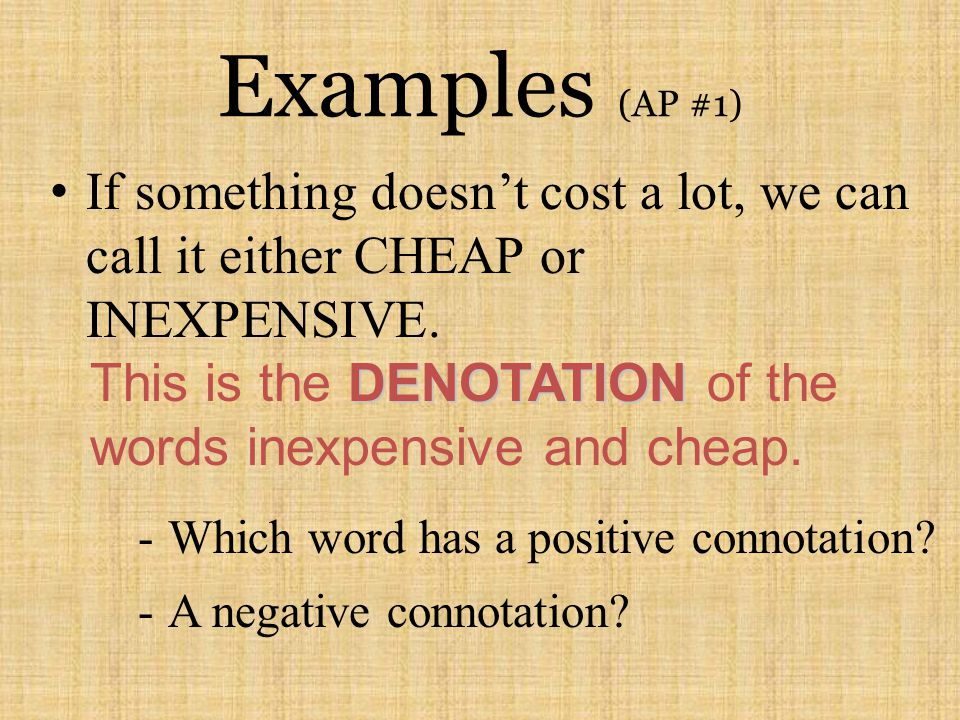 Examples (AP #1) If something doesn't cost a lot, we can call it either CHEAP or INEXPENSIVE.