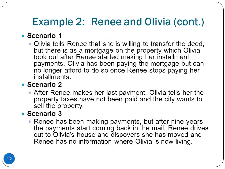Example 2: Renee and Olivia (cont.)