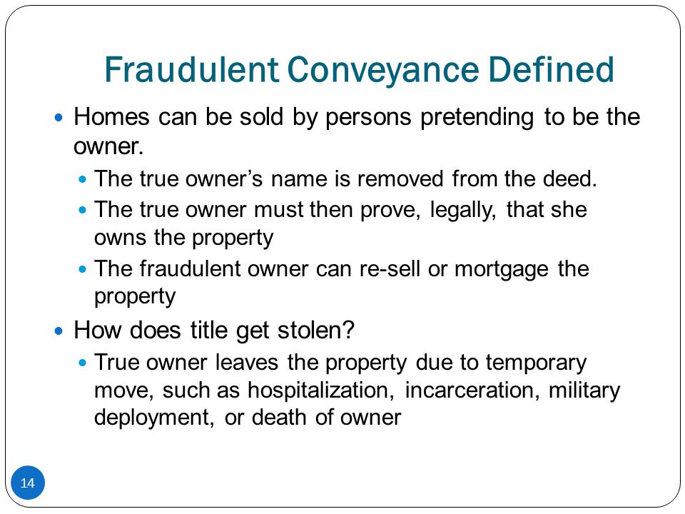Fraudulent Conveyance Defined