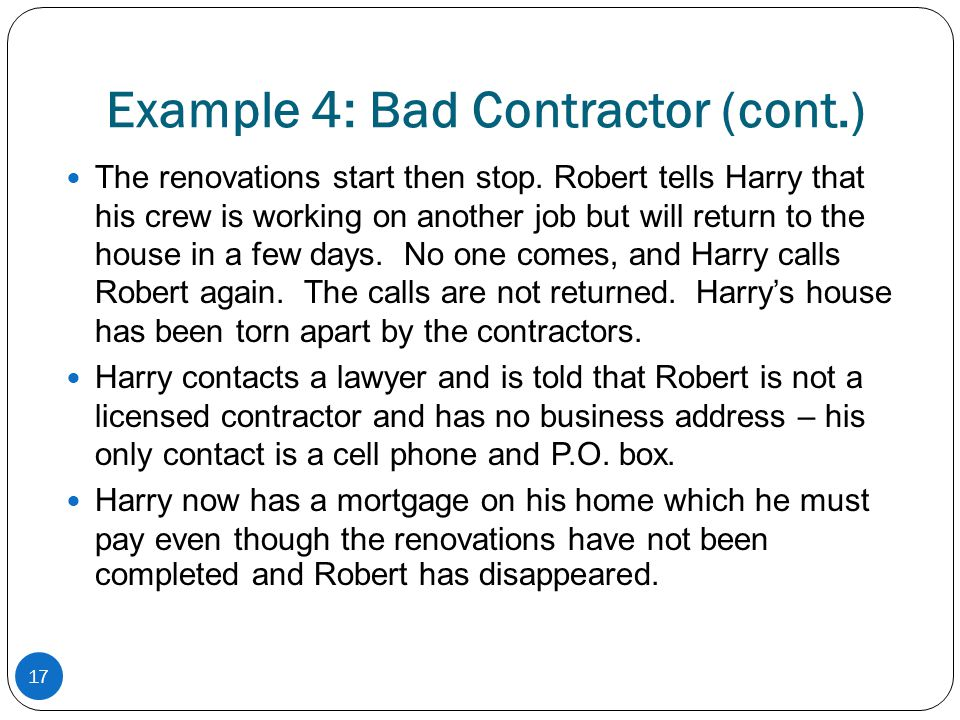 Example 4: Bad Contractor (cont.)