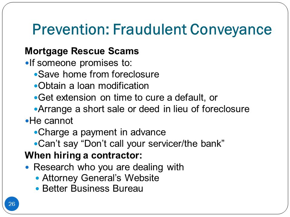 Prevention: Fraudulent Conveyance