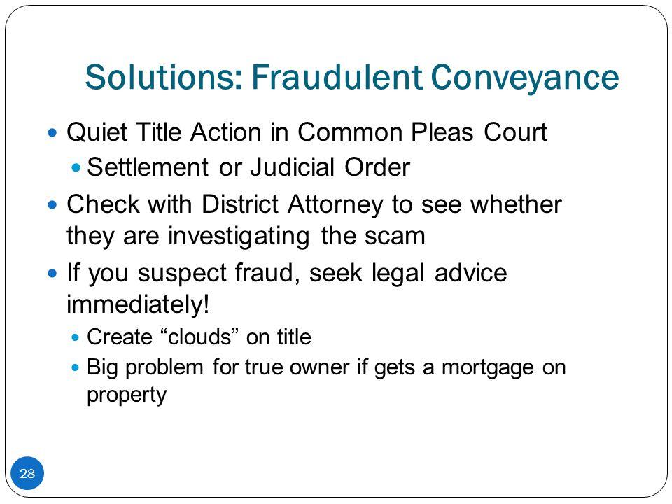 Solutions: Fraudulent Conveyance