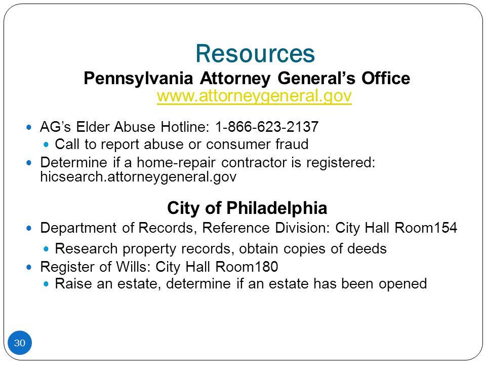 Pennsylvania Attorney General's Office www.attorneygeneral.gov