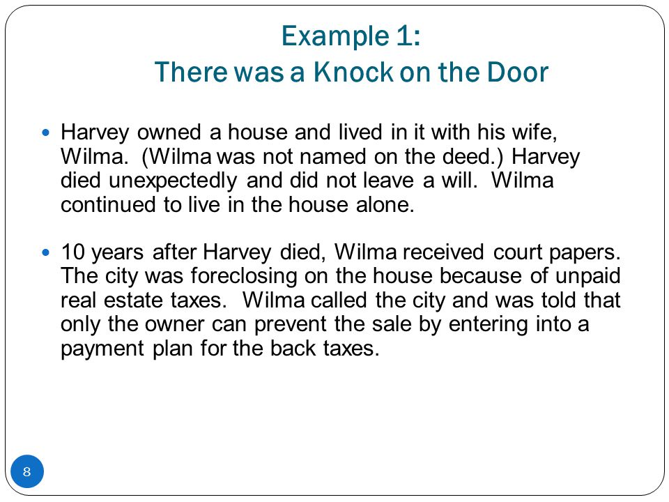 Example 1: There was a Knock on the Door