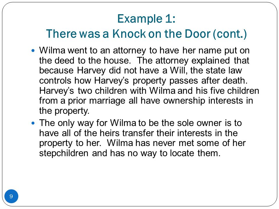 Example 1: There was a Knock on the Door (cont.)