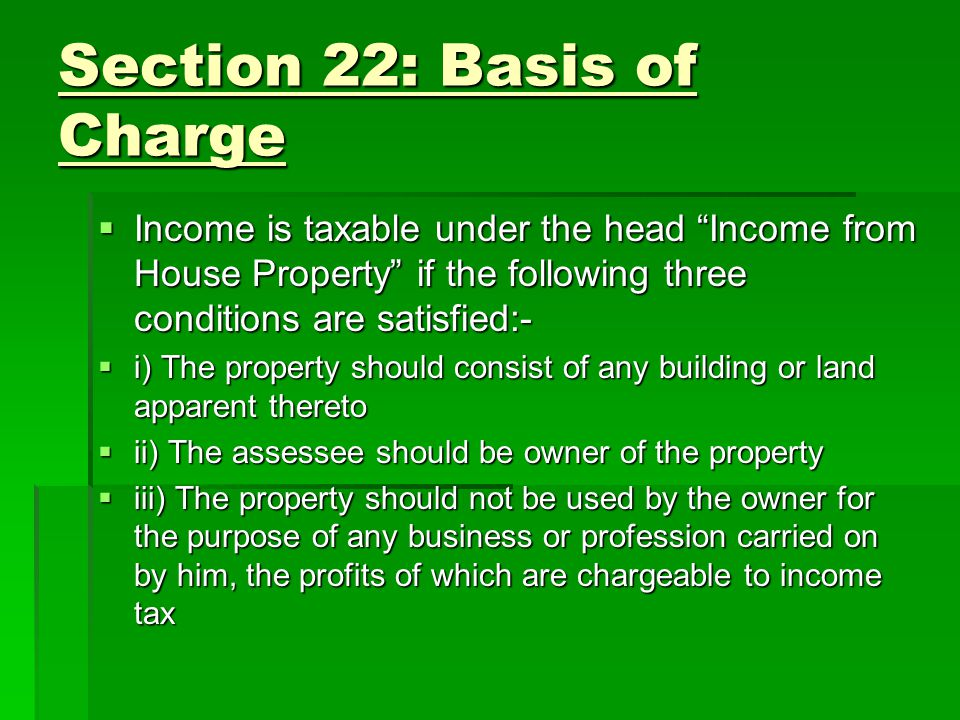Section 22: Basis of Charge