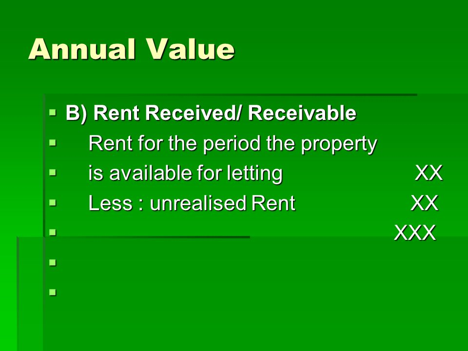 Annual Value B) Rent Received/ Receivable