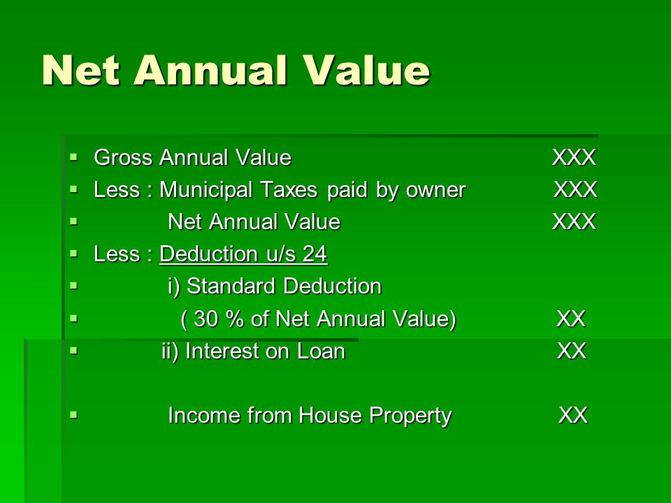 Net Annual Value Gross Annual Value XXX