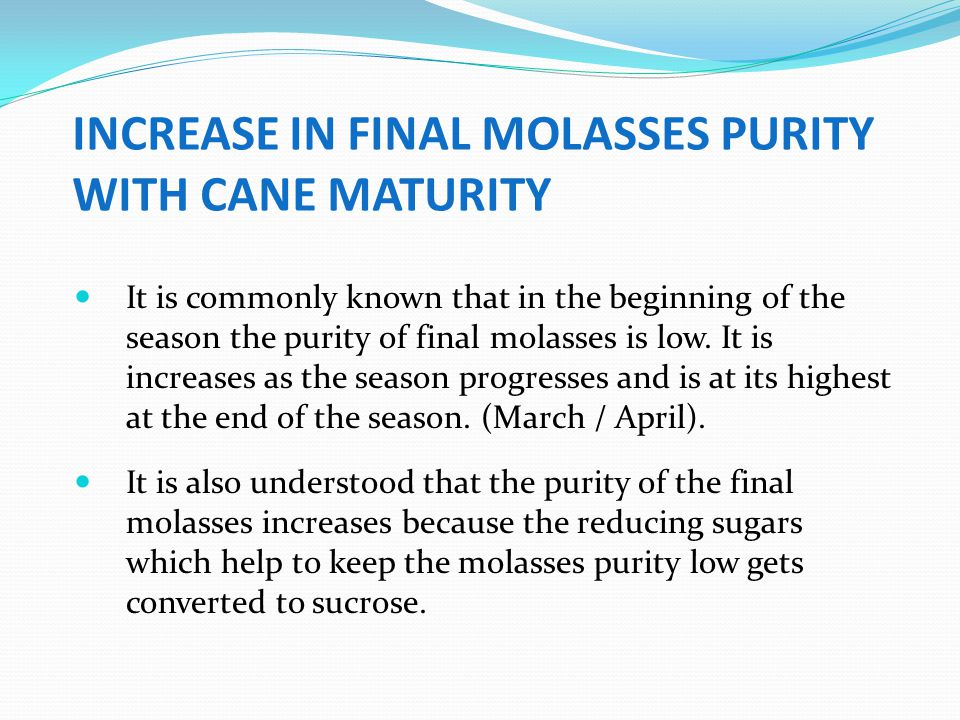 INCREASE IN FINAL MOLASSES PURITY WITH CANE MATURITY