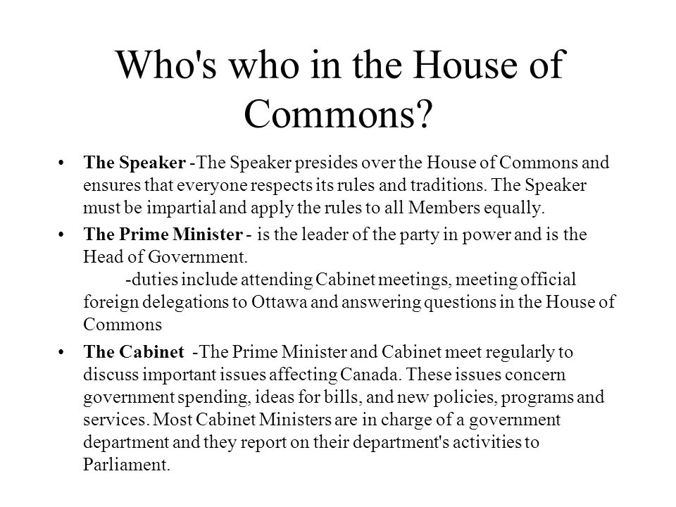 Who s who in the House of Commons