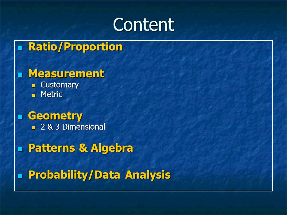 Content Ratio/Proportion Measurement Geometry Patterns & Algebra