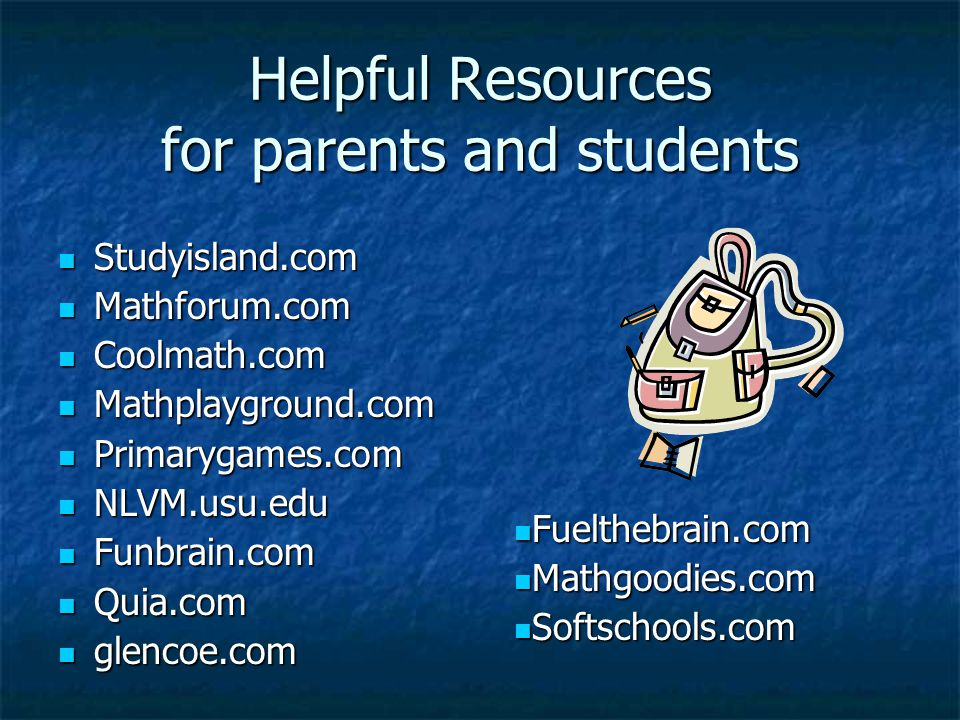 Helpful Resources for parents and students