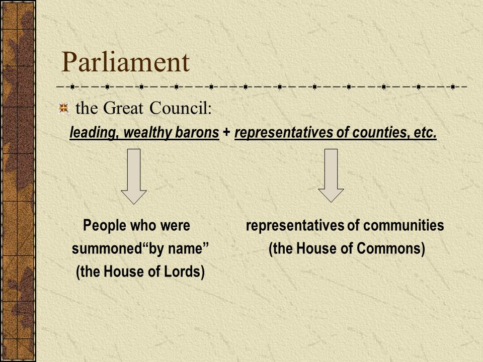 Parliament the Great Council: