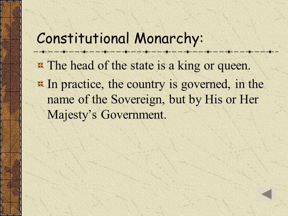 Constitutional Monarchy: