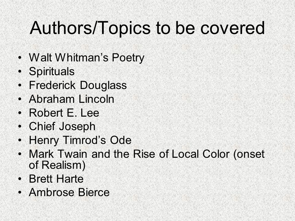 Authors/Topics to be covered