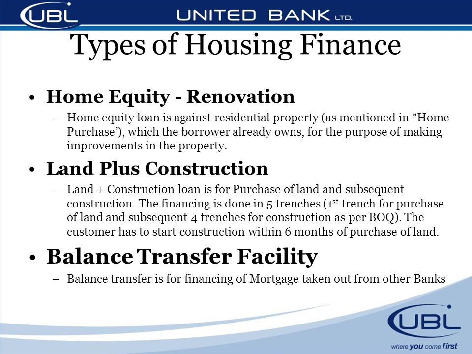 Training session on general housing finance ppt video for What type of loan to buy land