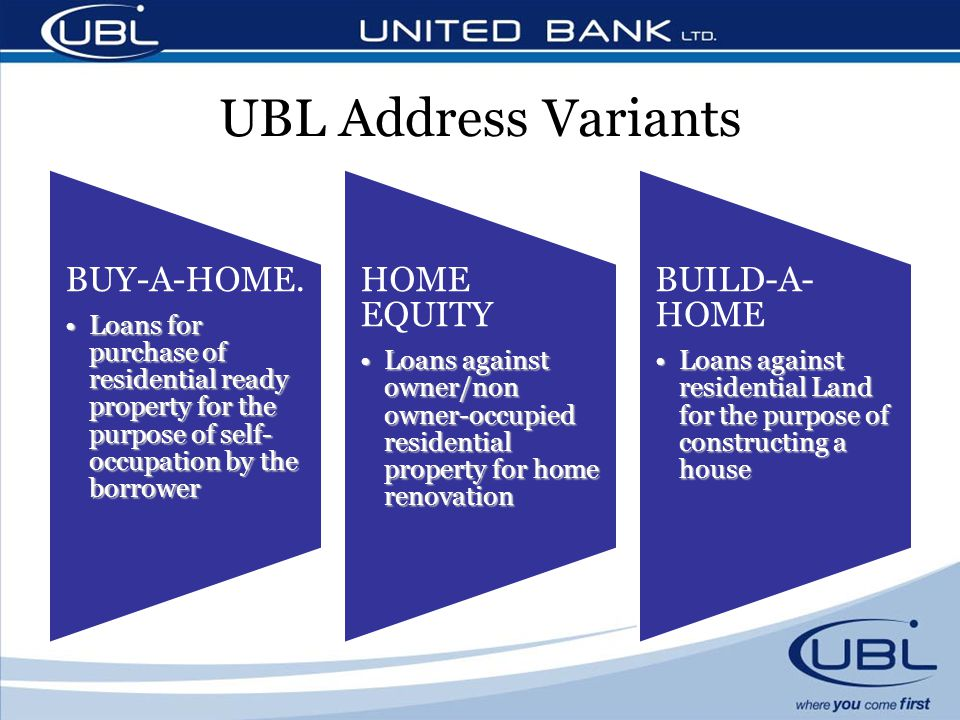 UBL Address Variants BUY-A-HOME. HOME EQUITY BUILD-A-HOME