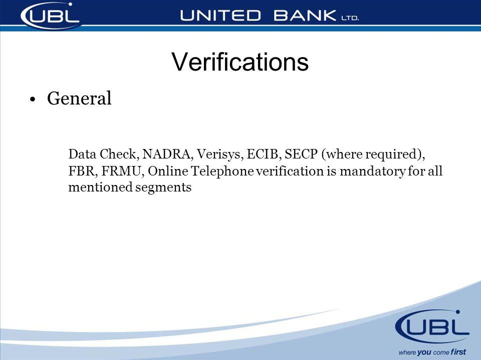 Verifications General