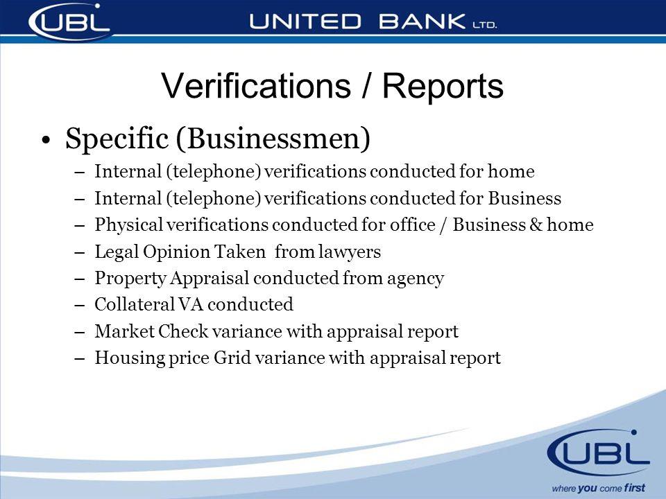 Verifications / Reports