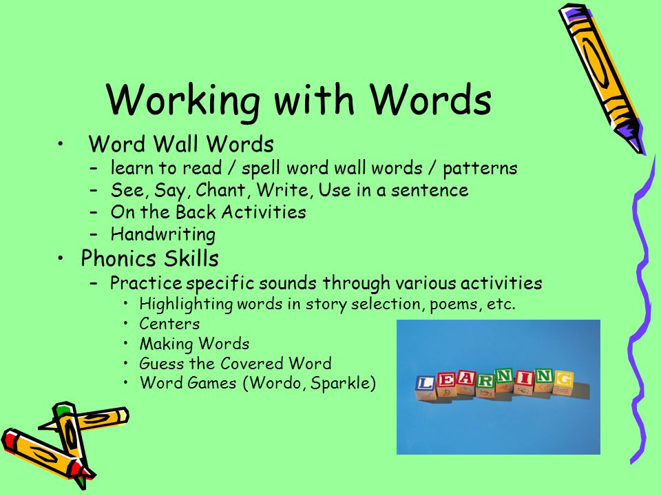 Working with Words Word Wall Words Phonics Skills