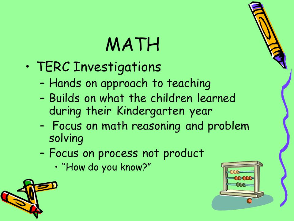 MATH TERC Investigations Hands on approach to teaching