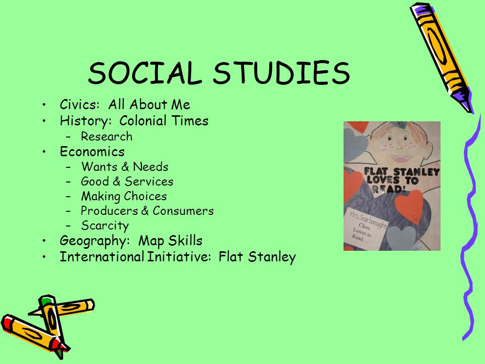 SOCIAL STUDIES Civics: All About Me History: Colonial Times Economics