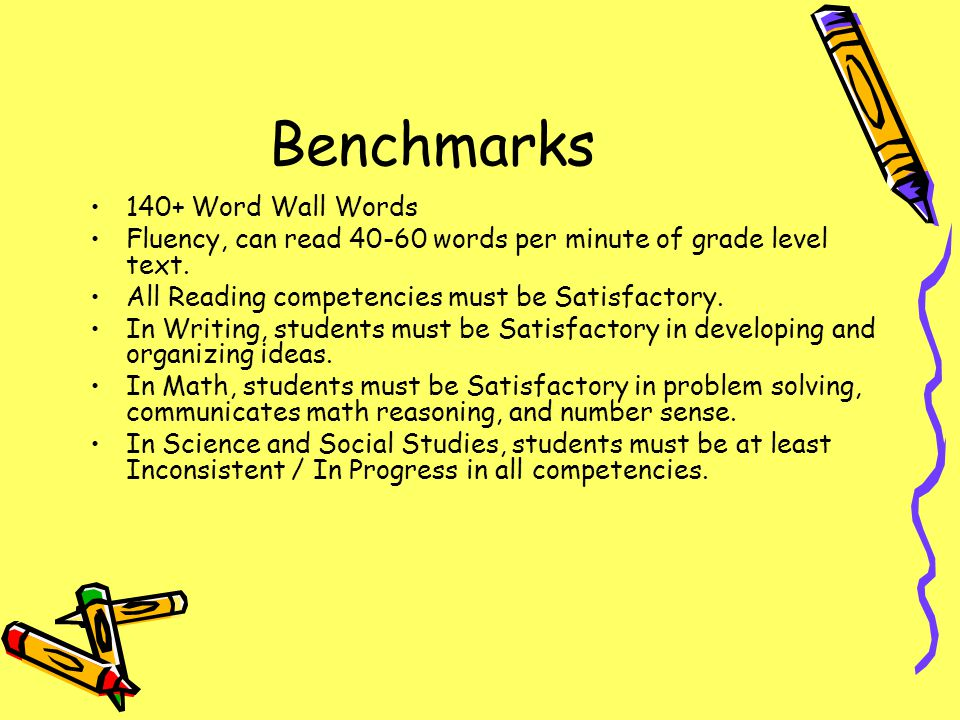 Benchmarks 140+ Word Wall Words