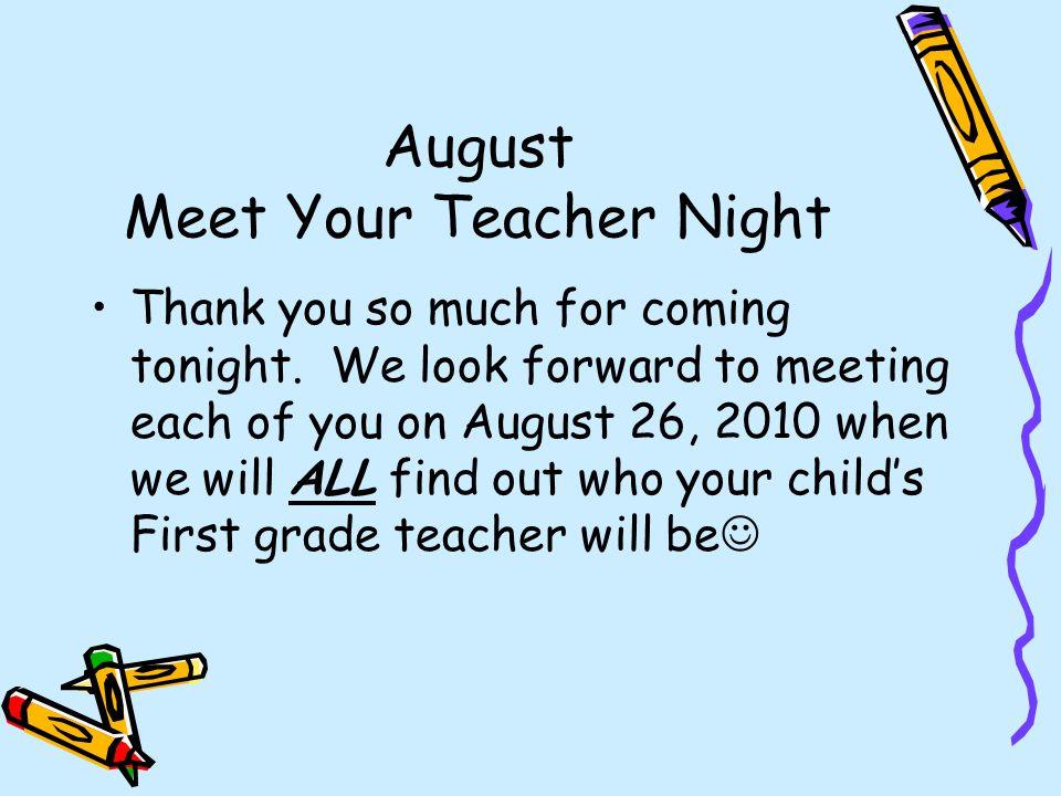 August Meet Your Teacher Night