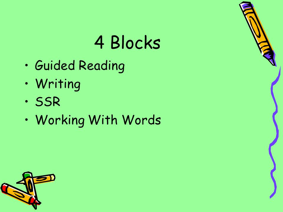 4 Blocks Guided Reading Writing SSR Working With Words