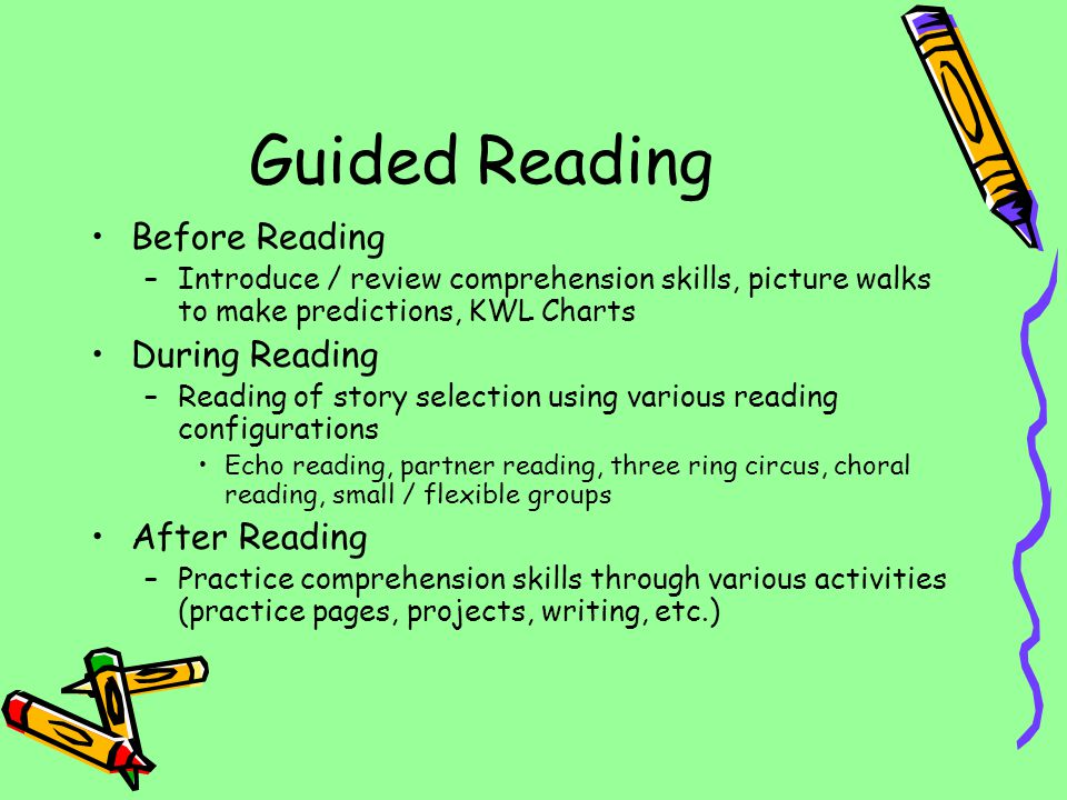 Guided Reading Before Reading During Reading After Reading