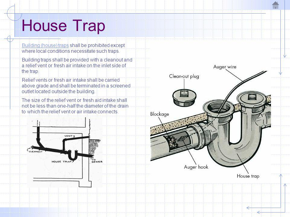 House Trap Building (house) traps shall be prohibited except where local conditions necessitate such traps.
