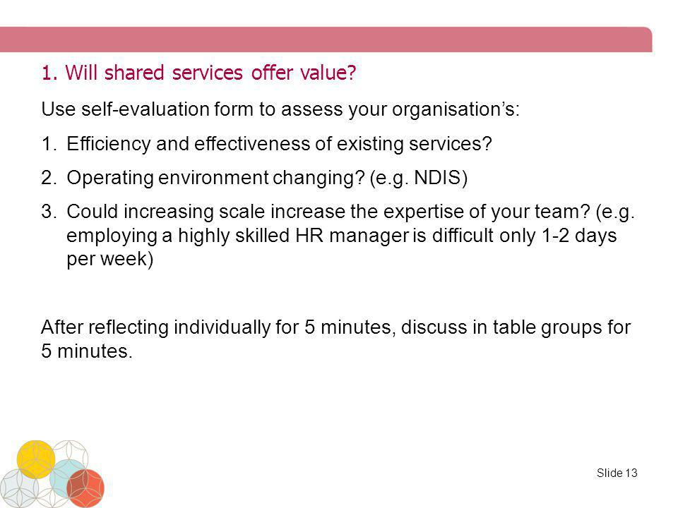 1. Will shared services offer value