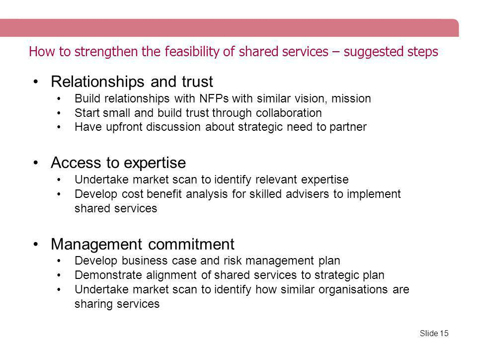 How to strengthen the feasibility of shared services – suggested steps